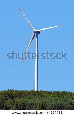 modern windmill in forest