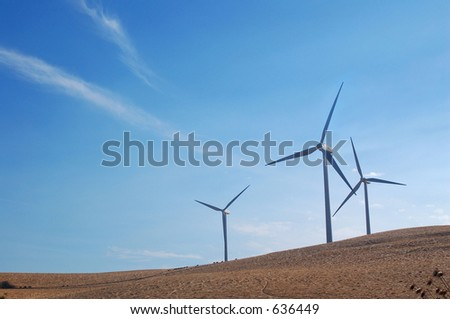 Modern windmills in northern California generating electricity.