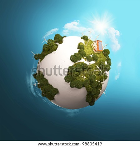 Modern windmills on a green planet. Model of Earth with wind turbines. Alternative Energy. - stock photo
