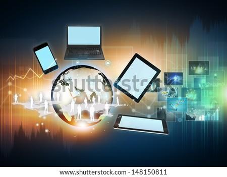 Modern wireless technology and social media - stock photo