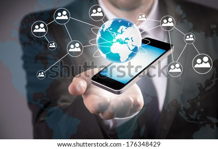 Modern wireless technology and social media illustration