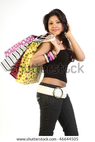 modern woman with shopping bags - stock photo
