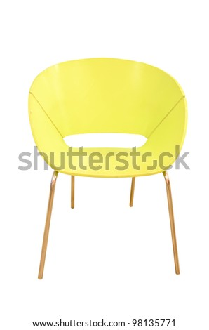 Modern wood chair isolated - stock photo