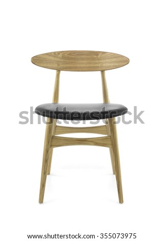 modern wooden chair front view. Modern Wood Chair With Black Leather Pad On White Background, Front View Wooden I