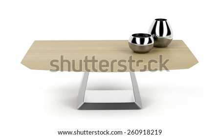 Modern wood coffee table on white background - stock photo