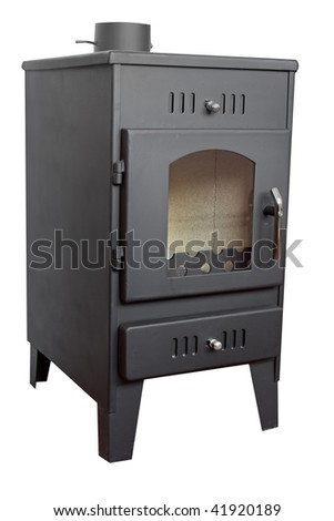 Modern wood stove,isolated on white