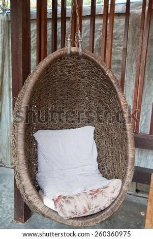 Modern wood swing - stock photo