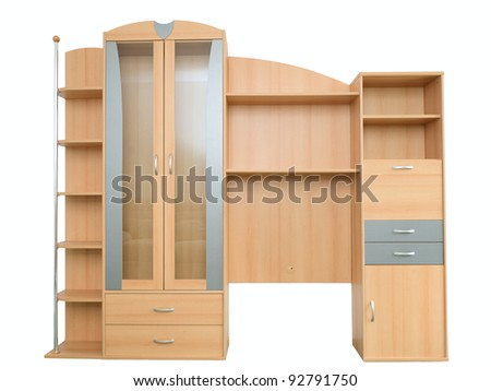 modern wooden bookcase on a white background