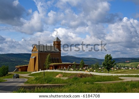 modern wooden church in countryside, Norway