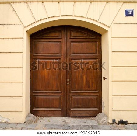 Modern Wooden Door with 2 Wings, Prague, The Czech Republic - stock photo