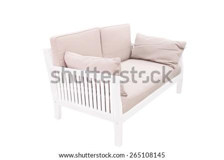 Modern wooden garden sofa under the white background - stock photo