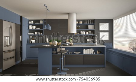 Modern wooden kitchen with wooden details and panoramic window, gray and blue minimalistic interior design, sunset sunrise panorama, 3d illustration
