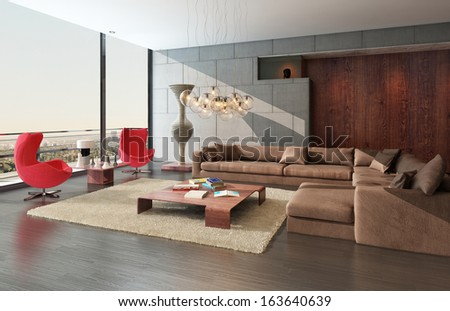 Modern wooden living room interior with couch and two red armchairs - stock photo