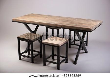 modern wooden table studio shot  - stock photo