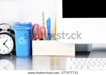 Modern work space in teen room. Interior design, back to school, furniture, technology, urban living, lifestyle  and education concept. Copy space - stock photo