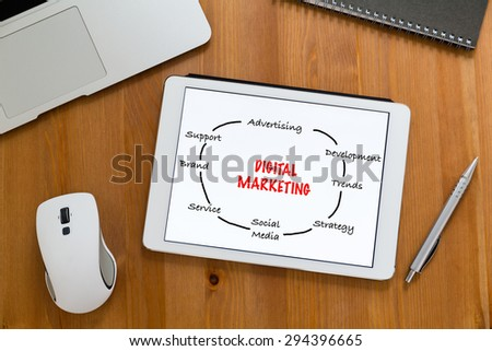 Modern working desk with tablet showing digital marketing concept - stock photo