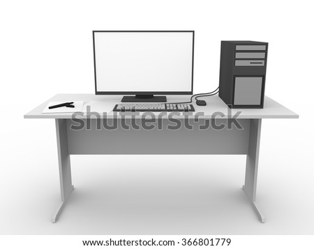 Modern workplace with a computer, mouse and display