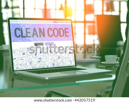 Modern Workplace with Laptop Showing Landing Page in Doodle Design Style with Text Clean Code. Toned Image with Selective Focus. 3D Render. - stock photo
