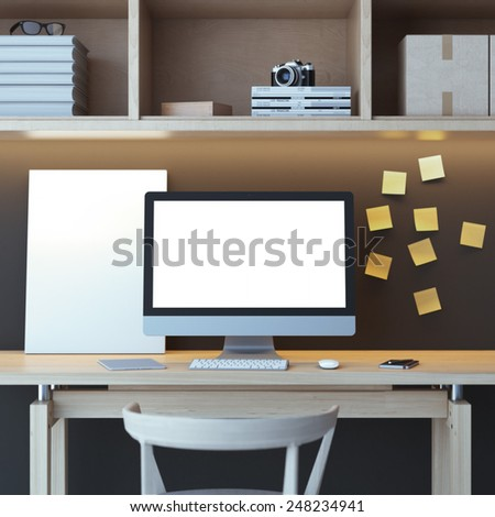 Modern workspace with computer - stock photo