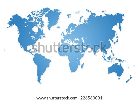 Modern world map illustration - stock photo