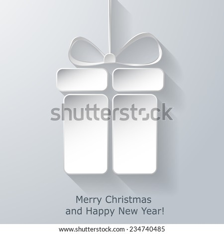 Modern Xmas greeting card with abstract paper Christmas gift box. Trendy New Year decoration. Raster  illustration - stock photo