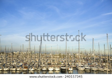 Modern yachts at sea port in Barcelona, Spain, Europe. - stock photo