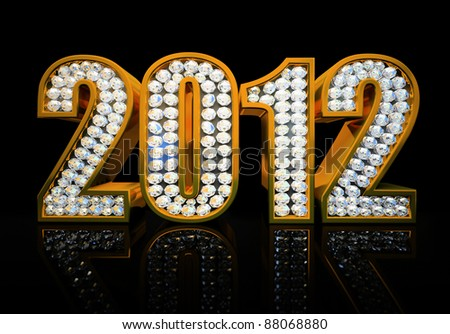 Modern 2012 year isolated on the black background 3D rendering - stock photo