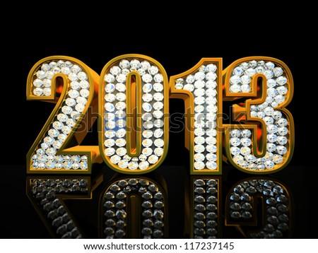 Modern 2013 year isolated on the black background illustration - stock photo