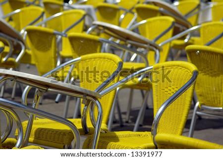 Modern yellow chairs - stock photo