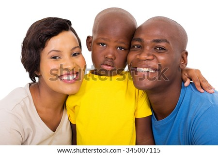 modern young african american family isolated on white