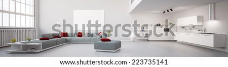 Modernes Interior Loft Apartment Panorama 3D Illustration  - stock photo