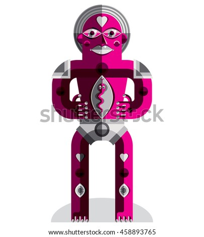 Modernistic illustration, geometric cubism style avatar isolated on white background. Strange character image made in flat design.