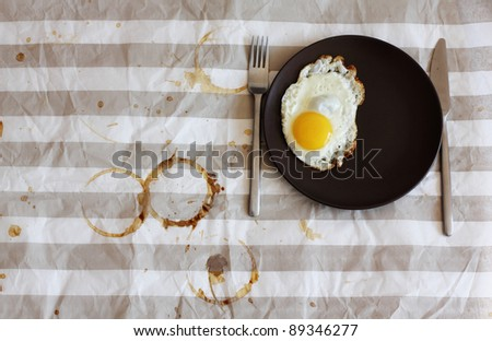 modest breakfast in a cafe - stock photo