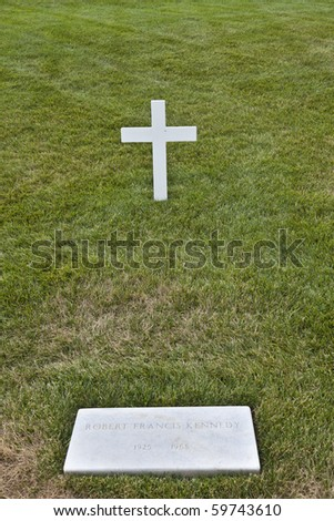 Modest tomb of Robert Kennedy in Arlington National Cemetery, Arlington Virginia USA - stock photo
