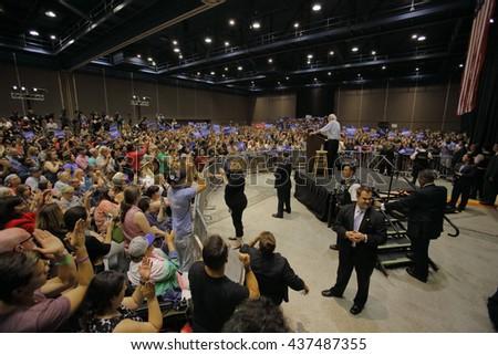 MODESTO, CA- JUNE 02, 2016: Democratic Presidential Candidate Bernie Sanders speaks at a Presidential campaign rally at Modesto Centre Plaza, Modesto, CA.Ã?? - stock photo