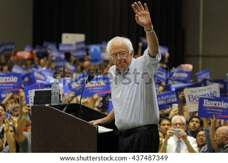 MODESTO, CA- JUNE 02, 2016: Democratic Presidential Candidate Bernie Sanders steps off press stand at a Presidential campaign rally at Modesto Centre Plaza, Modesto, CA.Ã?? - stock photo
