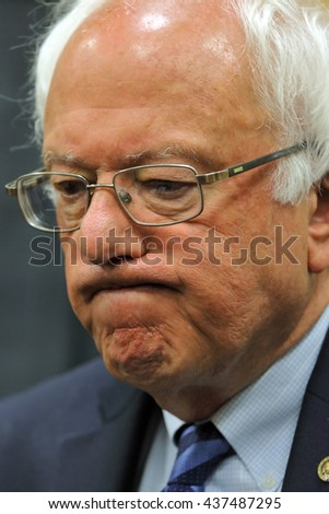 MODESTO, CA- JUNE 02, 2016: Presidential candidate, close up Bernie Sanders at his press conference prior to a rally at Modesto Centre Plaza in Modesto, CA.