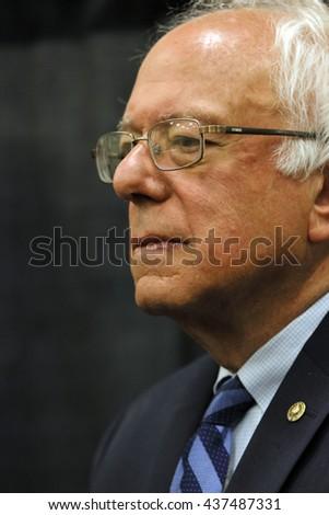 MODESTO, CA- JUNE 02, 2016: Presidential candidate, close up Bernie Sanders at his press conference prior to a rally at Modesto Centre Plaza in Modesto, CA. - stock photo