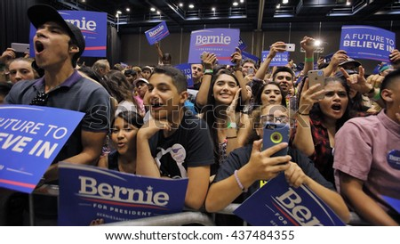 MODESTO, CA- JUNE 02, 2016: Supporters listen to Bernie Sanders a Democrat Presidential Candiate at a rally at Modesto Centre Plaza, Modesto, CA.