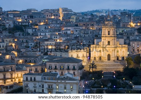 modica by night, ragusa, sicily, baroque, unesco - stock photo