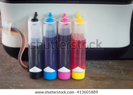 Modified ink tank kit for inkjet printer. - stock photo