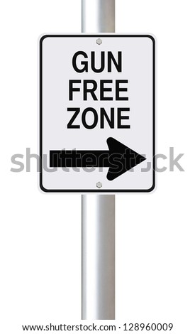 Modified one way sign indicating gun free zone (on white) - stock photo