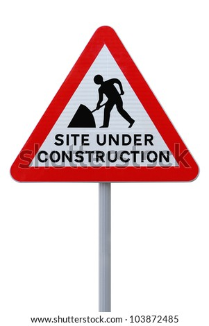 Modified road sign indicating a site under construction (on white with clipping path) - stock photo