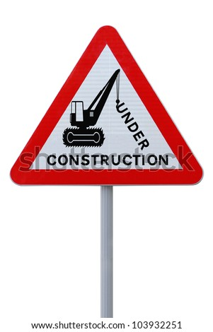 Modified road sign indicating an on-going repair or construction (on white with clipping path) - stock photo