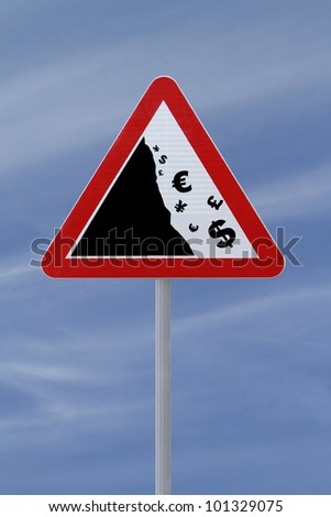 Modified road sign showing the fall of major currencies - stock photo