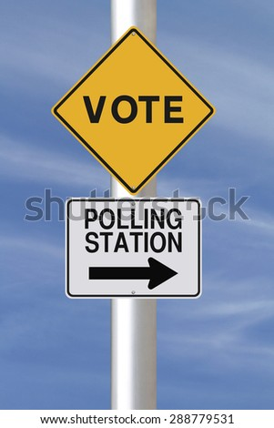 Modified road signs on voting or elections