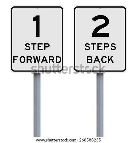 Modified speed limit signs indicating One Step Forward, Two Steps Back  - stock photo