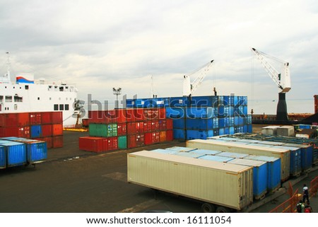 modular shipping containers on a ship yard