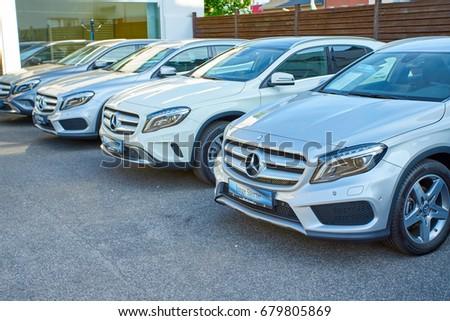 MOENCHENGLADBACH, GERMANY - APRIL 30, 2017: Mercedes Benz showroom. Mercedes-Benz is a German automobile manufacturer