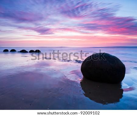 Moeraki Boulders at Dawn South Island New Zealand - stock photo